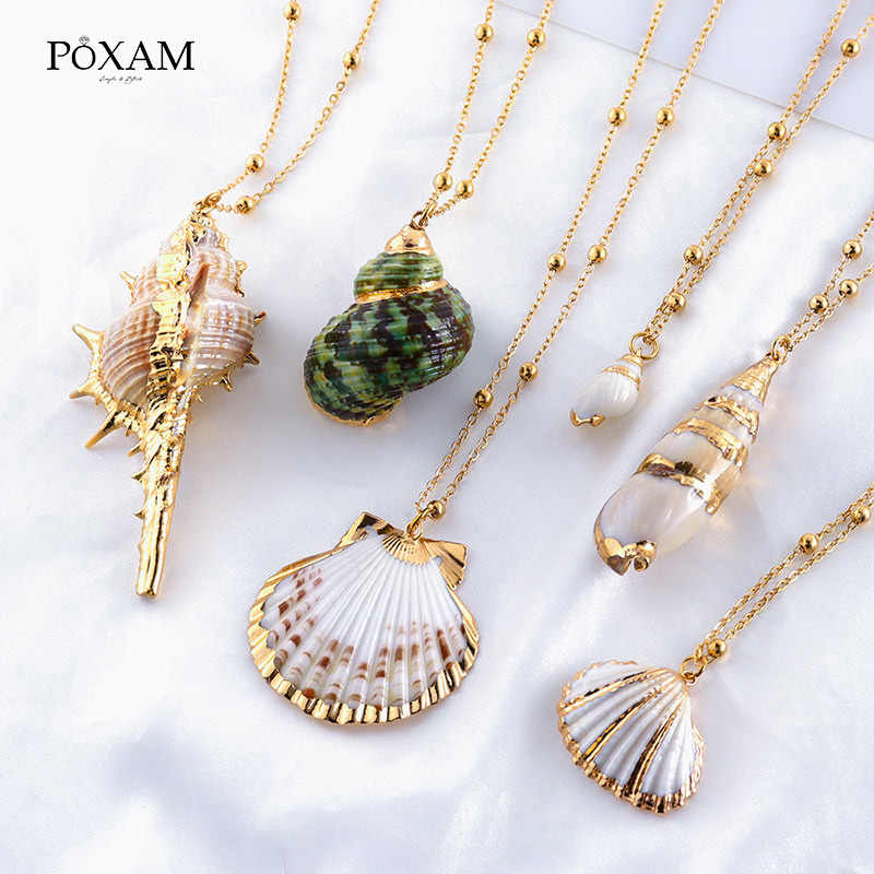 POXAM Natural Shell Statement Conch Shell Pendant Necklaces 2019 For Women Man Fashion Gold Long Link Chain Chonker Boho Jewelry