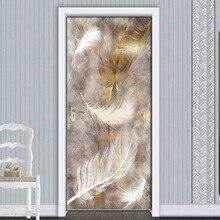Водонепроницаемая 3d оригинальная наклейка на дверь, так как клейкая бумага украшения спальни гостиной наклейки на стену, плакат перо абстрактный