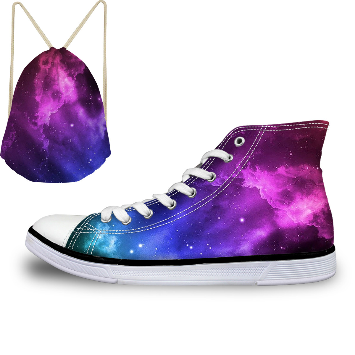 ThiKin Pretty Colorful Galaxy Stars Print Canvas Shoes For Women Girls Ladies Casual High Top Vulcanize Shoes Lace Up Sneaker