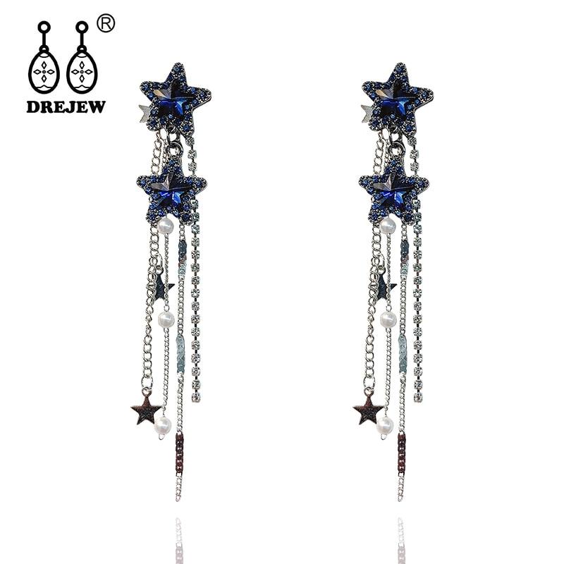 DREJEW Blue Green Gold Star Rhinestone Statement Earrings 2019 Long Vintage Tassel Drop for Women Fashion Jewelry E1321