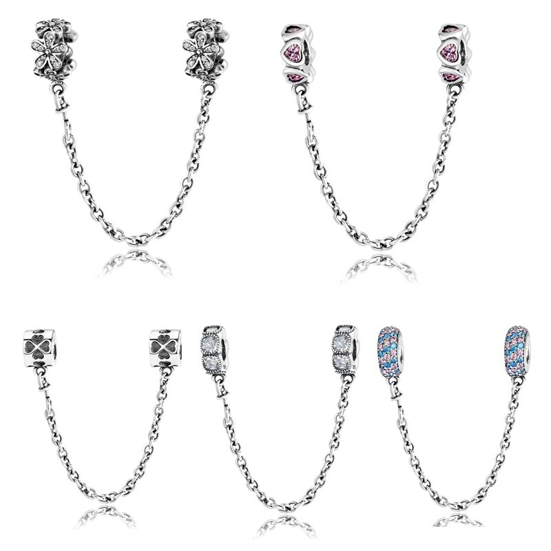 Real 925 Sterling Silver charms Bead heart flower round shape Safety Chain Fit Original Pandora Charm Bracelet Jewelry making
