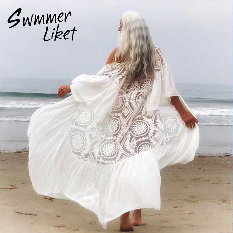 Vintage White Swimsuit Cover Up Female 2020 Kimono Beach Wear Cover Ups Ruffle Bathing Suit Beach Dress Women Summer Bathers New Aliexpress