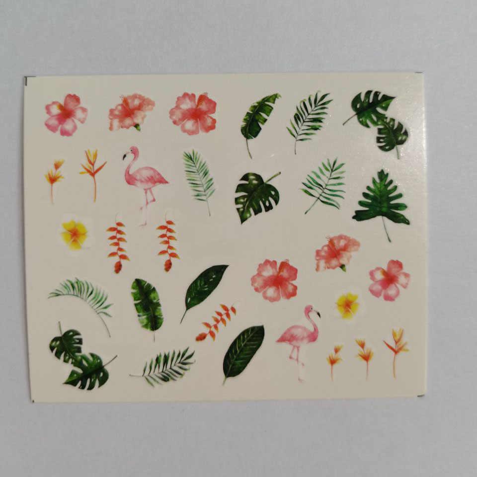 1Pcsเล็บรูปลอกสติกเกอร์ดอกไม้ต้นไม้สีเขียวง่ายSumme Sliderสำหรับเล็บArt Watermarkr DIYตกแต่งเล็บ