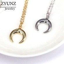 Collier demi-Lune Corne de bœuf, 10 pièces, ras du cou, pendentif pour hommes et femmes, bijoux cadeau