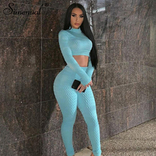 Simenual Fitness Sportswear Push Up Two Piece Sets Women Fashion Casual Workout Skinny Tracksuits Long Sleeve Top And Pants Set