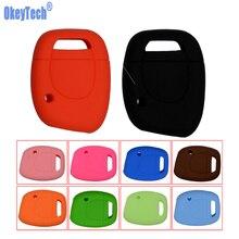 OkeyTech غطاء سيليكون مفتاح قذيفة لرينو كليو كانجو توينجو 1 زر مفتاح بعيد فارغة ملونة لمفتاح السيارة