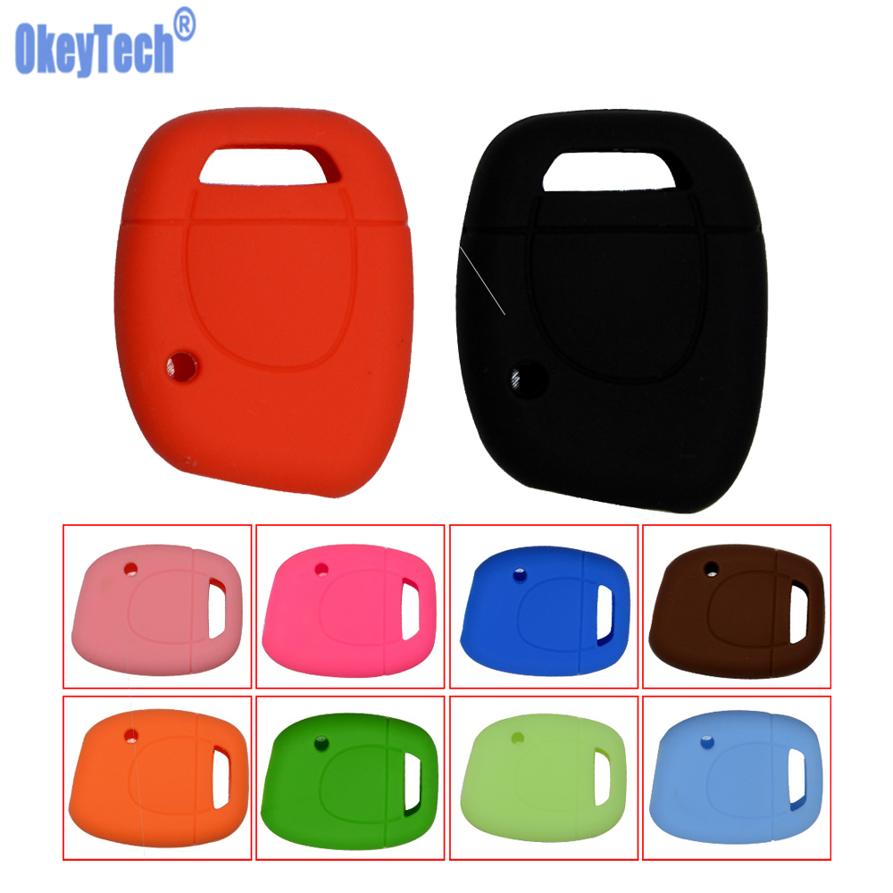 OkeyTech Silicone Key Shell Cover For Renault Clio Kangoo Twingo 1 Button Remote Key Blank Colorful For Car Key Free Shipping