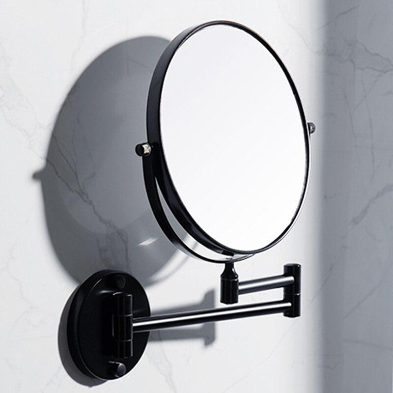 Bathroom Beauty Mirror Bathroom Black Mirror Wall-mounted Makeup Mirror Folding Magnifying Glass Wall-mounted Mirrors