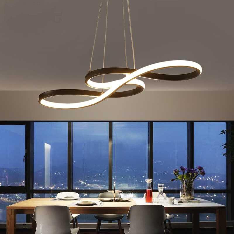 Luz colgante LED nórdica originalidad Musical nota curva colgante lámpara personalidad dormitorio cocina restaurante accesorios de iluminación - 2