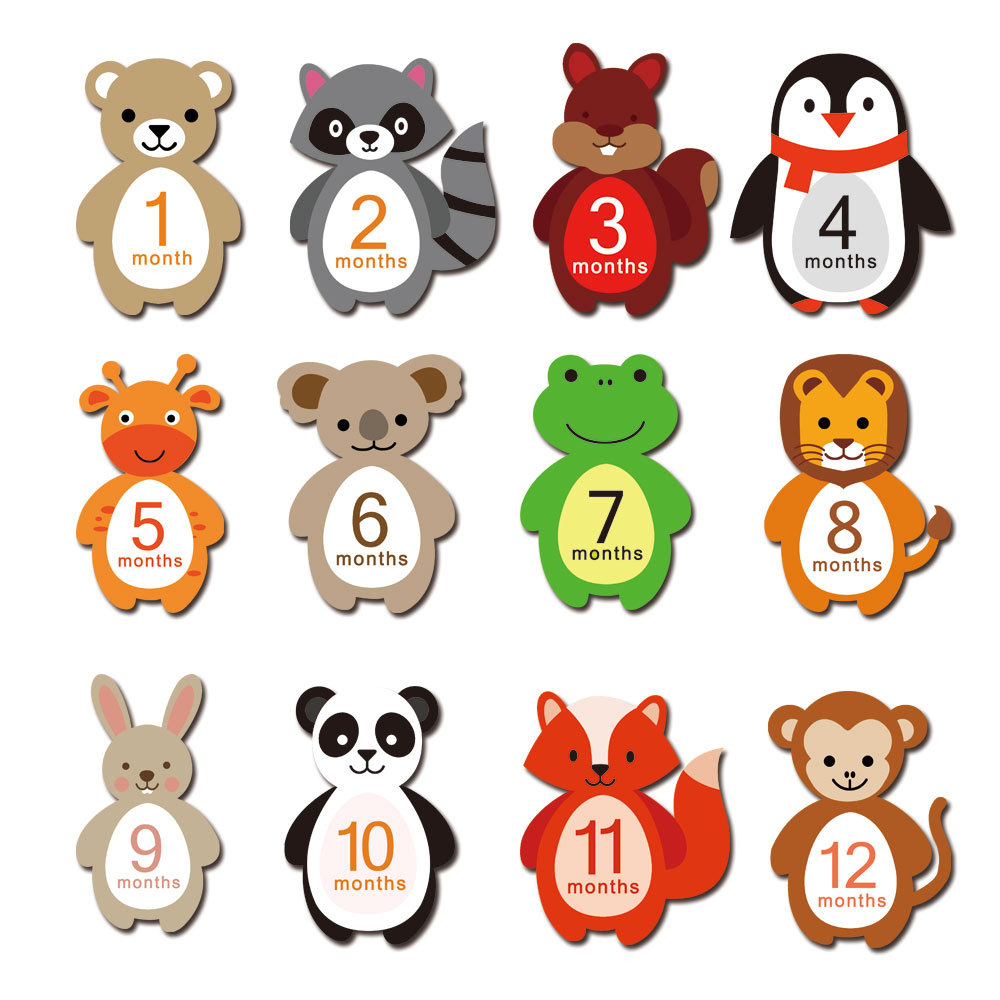 Hot Sale 12 Pcs/Set Animal 1-12 Months Baby Monthly Milestone Sticker Baby Photography Props Photo Stickers Baby Photo Cards