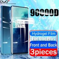 3Pcs Vorne Und Zurück Für OnePlus 7T 8T 7 8 Pro 6 6T Screen Protector Volle abdeckung Weichen Schutzhülle Hydrogel Film Nicht Gehärtetem Glas