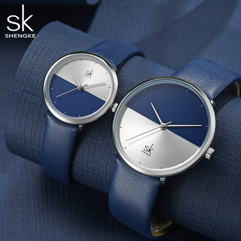 ShengKe Fashion Lovers Watches Men Women Casual Leather Strap Quartz Watch Women's Dress Couple Watch Clock Relogios Femininos