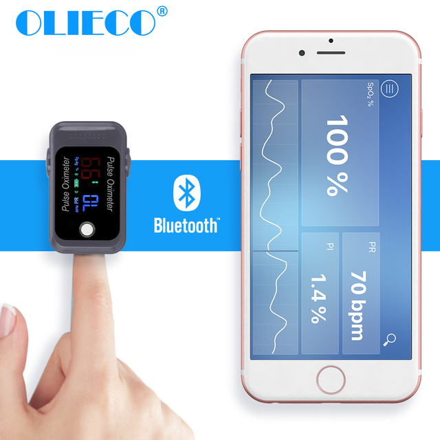 OLIECO Bluetooth Finger Pulse Oximeter SpO2 PR Oximetro Sleep Heart Rate Monitor Blood Oxygen Saturation Meter Home Health Care