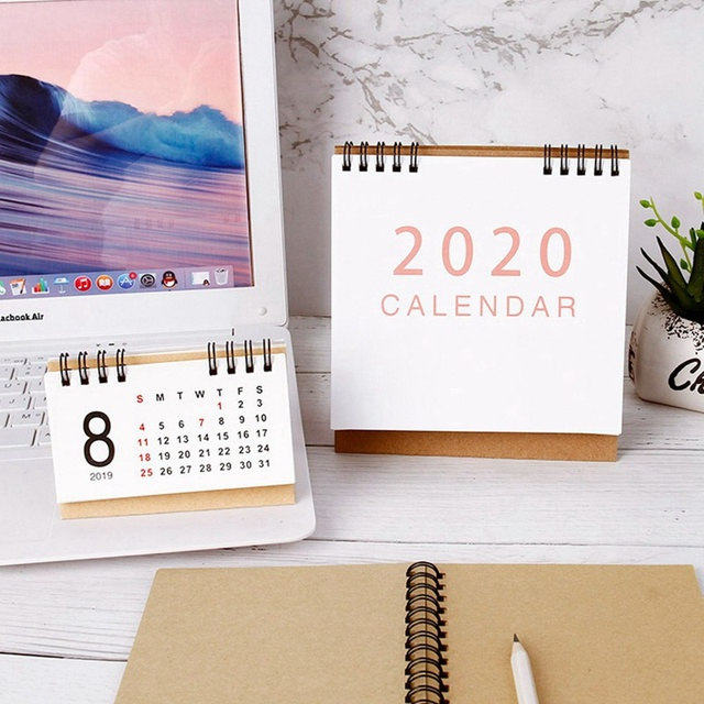 New 2020  Large Medium Small Vertical Kraft Paper Calendar Simple Desktop Calendar Daily Schedule Planner Office School Supply 4
