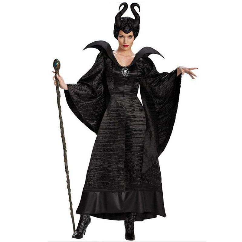 S-2XL Halloween Witch Maleficent Sleeping Beauty Movie Costume Adult Women Evil Dress Horn Hat Outfit  Hat Helmet Hood Bar