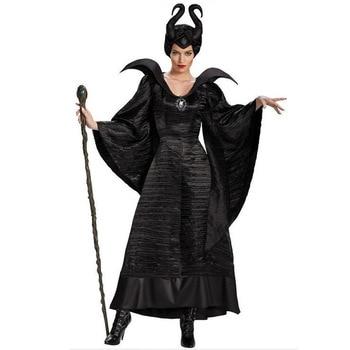 S-2XL Halloween Witch Maleficent Sleeping Beauty Movie Costume Adult Women Evil Dress Horn Hat Outfit  Hat Helmet Hood Bar women s fleece helmet hat one size fits most