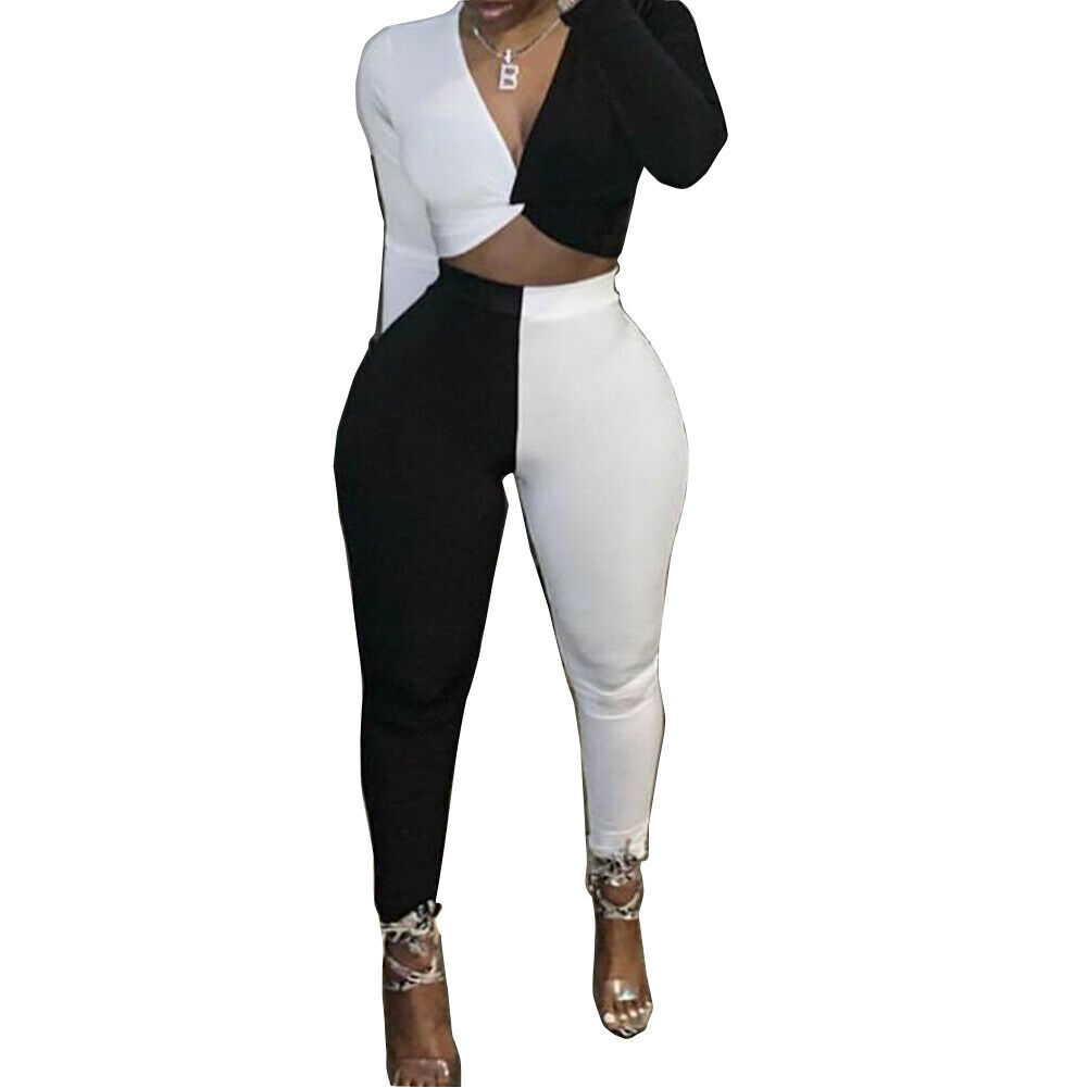 Women 2Pcs Outfits White And Black Club Party Long Sleeve Tops Pants Color Patchwork Casual Clubwear Female Outfit Size S-2XL