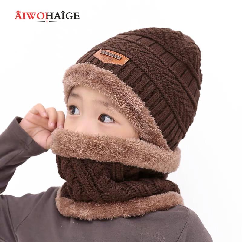 2019 New Fashion Skullies Beanies Children Hat Winter Warm Kids Baby Hat Knitted Wool Warm Girls Boys Hats Beanies Hat 2 Pieces