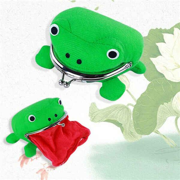 2019 forma de rana Cosplay verde Animal bolsa monedero billetera suave peluda de peluche monedero regalo inteligente Mini tarjeta delgada cartera