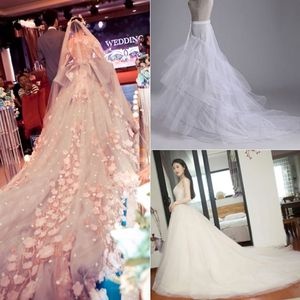 Image 5 - 3 layer Yarn 2 hoops Bride Wedding Dress Long Trailing Skirt Petticoat Elastic Waist Drawstring Adjustable Fishtail Slip Skirts