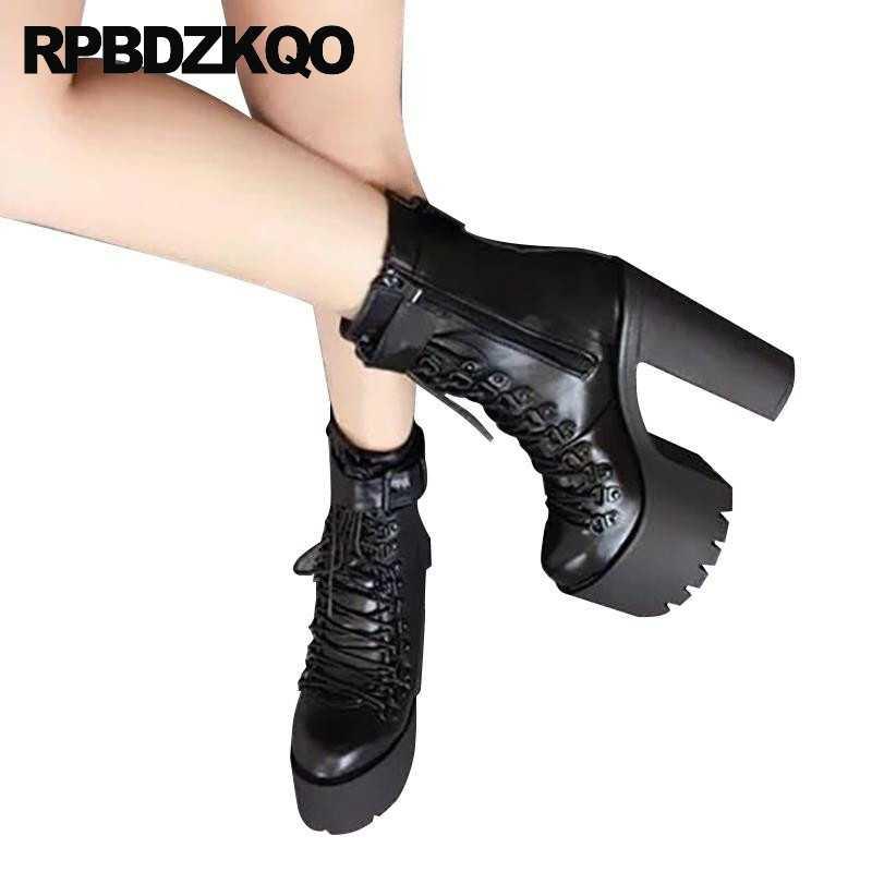 Gợi Cảm PUNK ROCK Giày Giày Chống Nước Gót Bông Tai Kẹp Demonia Châu Âu Cao Cấp Khối 15 Cm Tôn Sùng Chun Đen Mắt Cá Chân Nữ gothic