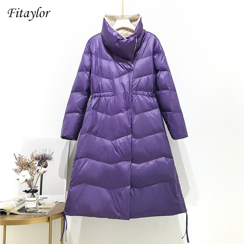 Fitaylor 90% White Duck Down Winter Women Ultra Light Down Parkas Snow Warm Long Female Casual Turtleneck Bread Coat Outwear