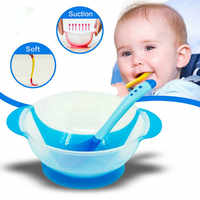 Baby Feeding Set Sucker Bowl Spoon Temperature Sensing Baby Tableware Learning Dishes Assist Food Bowl Children Feeding Bowl