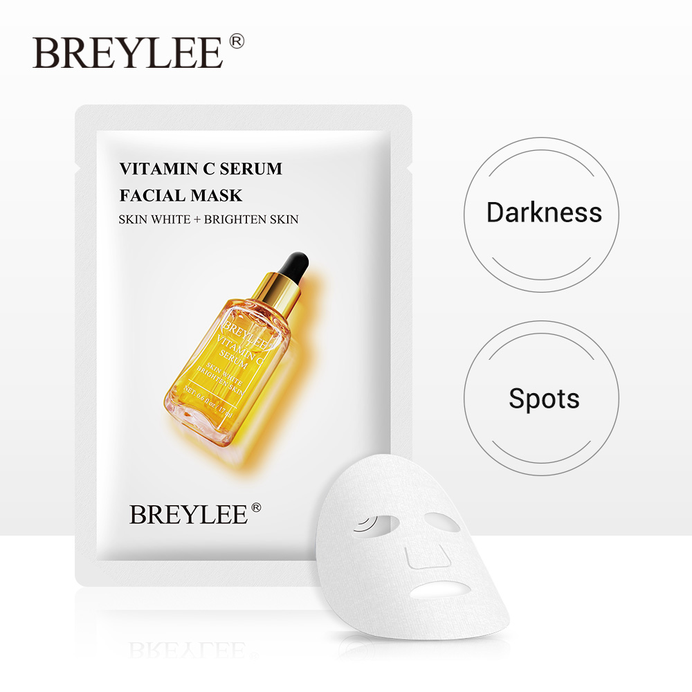 BREYLEE Face Sheet Mask Vitamin C Facial Serum Mask Whitening Moisturizing Antioxidation Anti-Aging Essence Skin Care Cream 1pcs