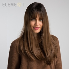 Element Long Straight Dark Roots Brown Ombre Synthetic Hair Wigs with Bangs for Black White Women Lady Cosplay Party Lolita Wig
