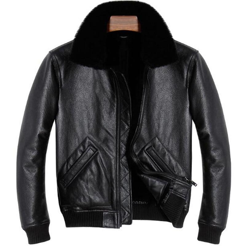 Veste en cuir véritable hommes véritable manteau en peau de mouton résistant au froid hiver épais chaud col de fourrure manteaux survêtement mâle marque vestes hauts