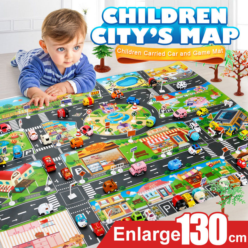 39Pcs City Map Car Toys  Interactive Play House Toys (28Pc Road Sign+10Pc Car+1Pc Map) Model Crawling Mat Game Pad For Children