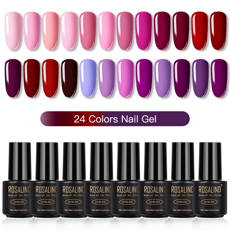 ROSALIND Gel Nail Polish Set Solid Color Nail Kit For Manicure Vernis Semi Permanent 7ML Gel Kit Top And Base All For Manicure 9