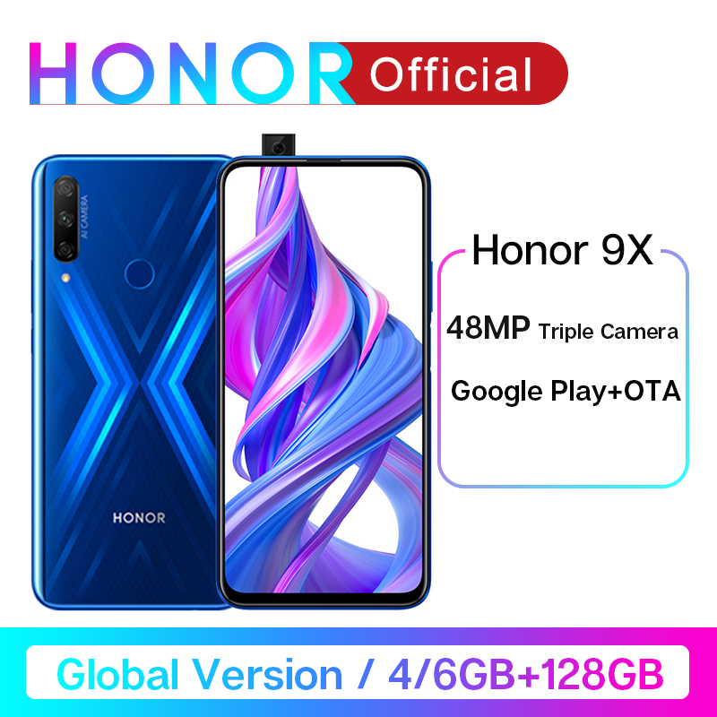 Global Version Honor 9X Smartphone 6G128G Not 9Pro 48MP Triples Cam 6.59'' Mobile Phone Android 9 4000mAh OTA Google Play