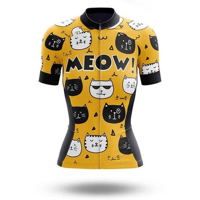SPTGRVO Lairschdan 2020 conjunto de Ciclismo de gato amarillo para mujer, uniforme de ciclismo, ropa para bicicleta, ropa para bicicleta, juego de ciclismo