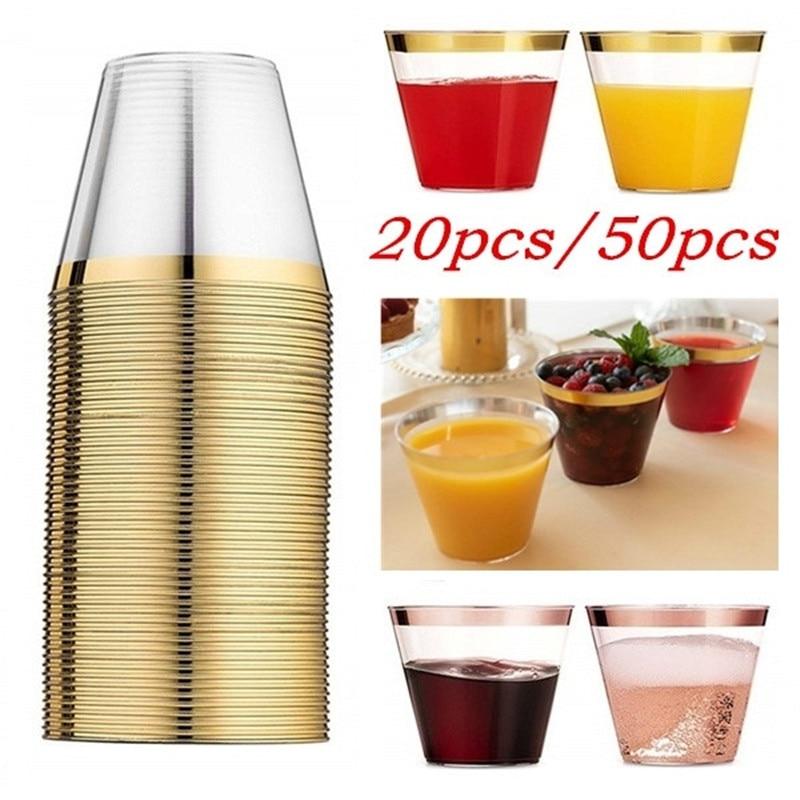 20/50pcs Gold Rimmed Plastic Cups 9Oz Clear Fancy Disposable Wedding Elegant Party