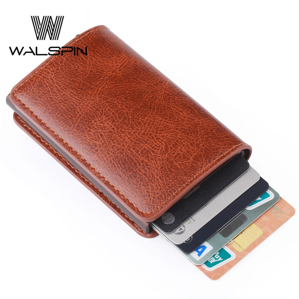 Rfid Card Holder Men Wallets Money Bag Aluminum Mini Slim Metal Wallet For Automatic Pop Up Credit Card Male Vintage Short Purse