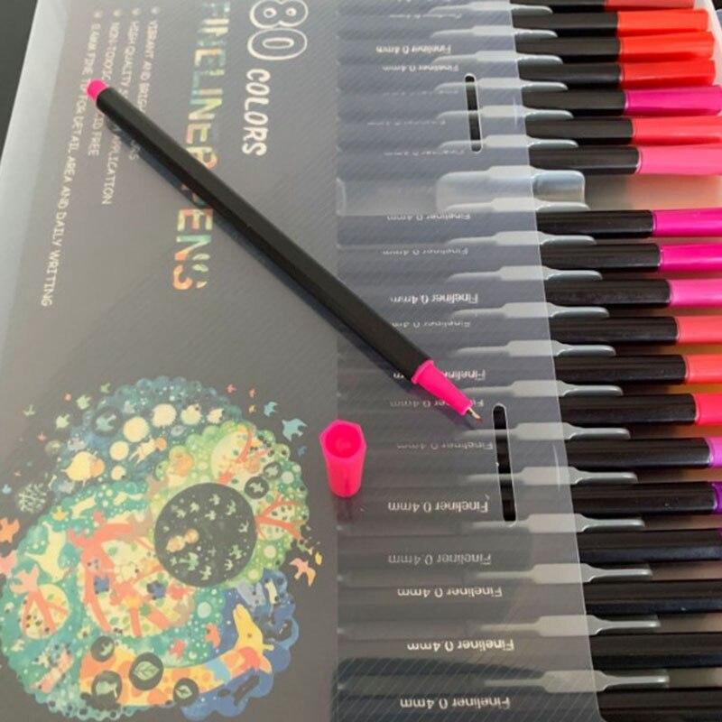 80 pçs cor caneta marcador caneta aquarela