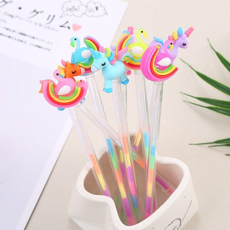 24 шт., креативные канцелярские принадлежности, цветная гелевая ручка для студентов, милая цветная ручка DIY с изображением лебедя пони, 6 цвет...