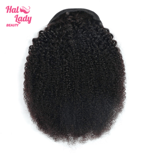 Image 2 - Halo Lady Beauty Drawstring Afro Kinky Curly Ponytail Human Hair Non Remy Indian Hair Extensions Pony Tail For African American