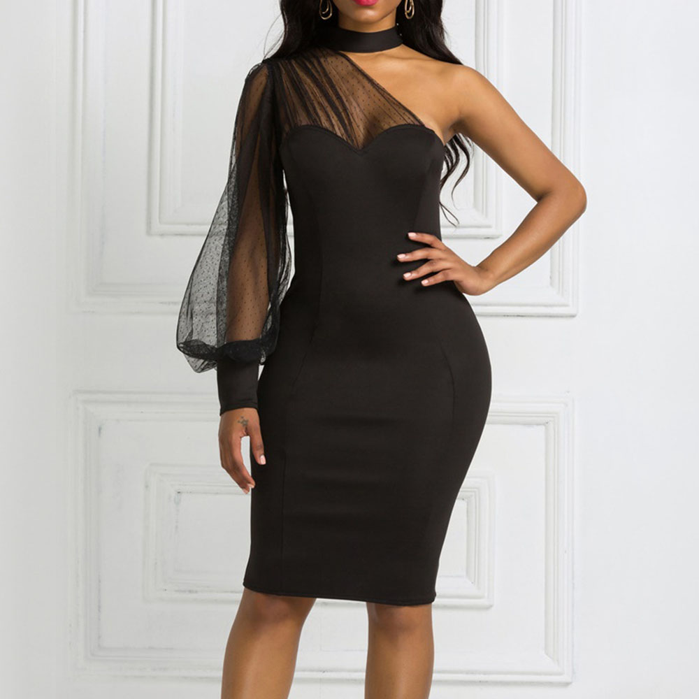 Black Mesh Bodycon Midi Dress African Women One-Shoulder Summer Dresses Sexy Backless Club Cocktail Party Vestidos