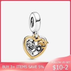 2020 Spring New  Beads Hearts & Bees Dangle Charms fit Original Pandora Bracelets Women DIY Jewelry