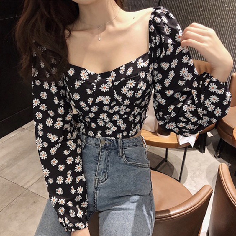 Square Collar Daisy Printed Women's Blouses Crop Tops French Long Sleeve Blouse Female 2020 Spring Summer Sweet Lady Tops