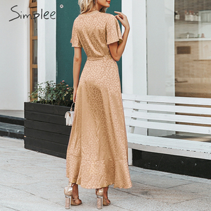 Image 2 - SimpleeLeopard プリントパーティードレスセクシーな V ネック半袖ドットプラスサイズドレス女性エレガントスプリットレースフリルベルトロングドレス