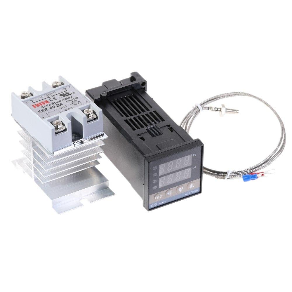 K Thermocouple Sensor 40A SSR Digital PID Temperature Controller 100-240VAC