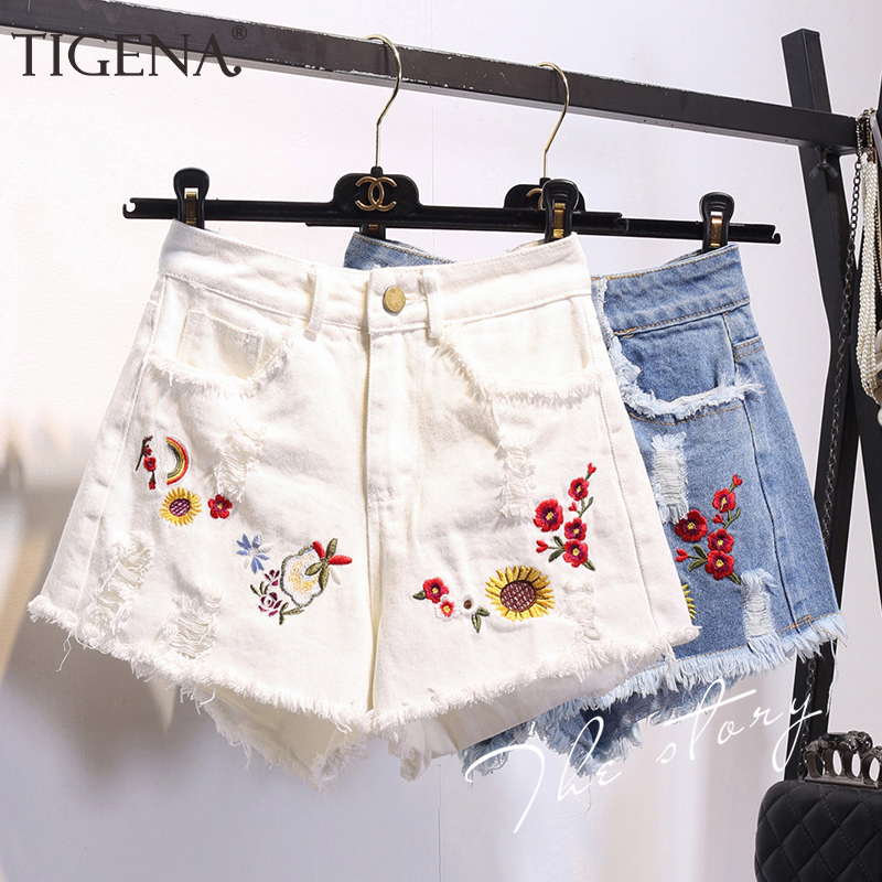 TIGENA Embroidery Floral Denim Shorts For Women 2020 Summer Plus Size High Waist Jean Shorts Female Femme White Blue Short Pants