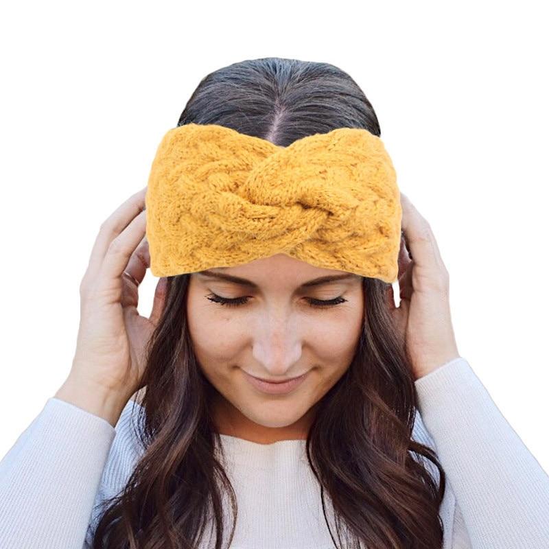 Winter Ear Warm Wool Twist Headband Turban Lady Crochet Wide Stretch Hairband Headwrap Plated Hair Accessories