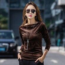 Autumn O-neck T-shirt Womens Harajuku Fashion Brown New Female Slim Long-sleeved Cotton Sexy Street Party Shirt