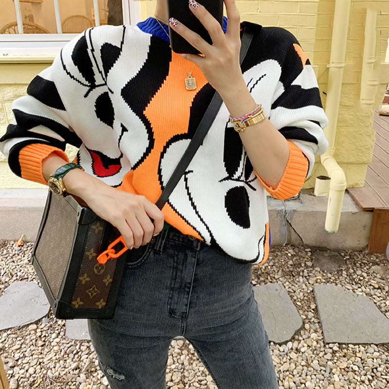 2019 Autumn Winter New Mickey Mouse Bear Women Sweater Loose Cartoon Thicken Pullovers Jumper Female Kawaii Cute Knitted Tops