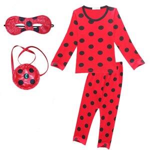 Image 1 - Пижамный комплект «Леди Баг», пижама с длинными рукавами для девочек, повседневная домашняя одежда в горошек, красная одежда для сна, комплекты одежды для девочек