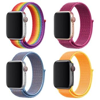цена на Sport Loop For Apple Watch Band Strap Apple Watch 4 Band 44mm 40mm Band 42mm 38mm Nylon Bracelet Watchband Series 3 2 1 4